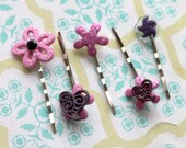 purple pink heart flower hair pins,silver hair bobby pins,heart hair pins,women,teens,girls,pink heart hair pins,purple heart hair pins