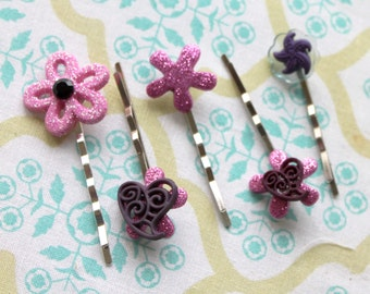 5 purple pink heart flower silver hair bobby pins,silver bobby pins,women,teens,girls,heart bobby pins,flower bobby pins,stocking stuffers