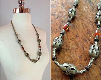 Gypsy tribal silver bead necklace / gypsy jewelry