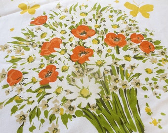 Vintage Orange Tulip White Daisy Twin Flat Sheet with Yellow Butterflies