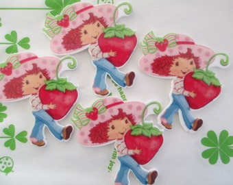 Strawberry shortcake girl cabochons 4pcs  53mm x50mm New item