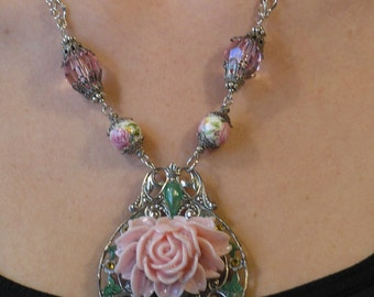 Garden Party Collection, Pink Rose necklace