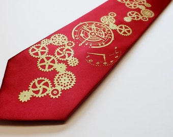 Mens steampunk clock works necktie Crimson Red and Gold SALE