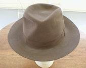 Hat Beaver Fur Fedora Vintage Mens Size 7 1/8