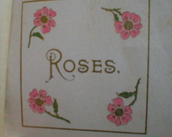 1902 Miniature Book Of Poems Pink ROSES Happiness Joy Love Poetry Antique Vintage