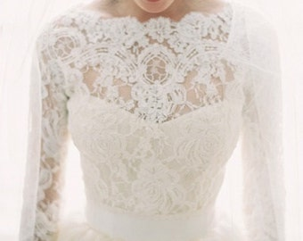 ROSES white bridal lace top white lace blouse white bridal bolero jacket wedding bolero