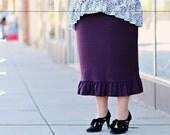 LillyAnnaKids Women's CHRISTIN Ruffled Knit Pencil Skirt