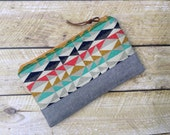 Zippered Clutch - Clutch Purse - Geometric Triangles - Bags & Purses