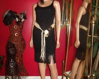 Vintage  G.Gatsby 90s Black Flapper Dress Fringes  Lace  Size none
