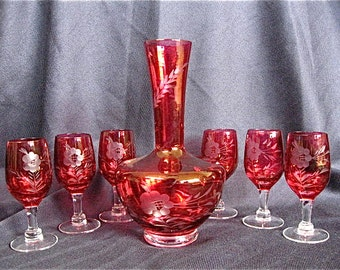 Cranberry Etched Glass Decanter & Glasses