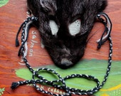 Fox mask - real eco-friendly silver fox fur mask headdress with braided yarn cords for ritual, dance, costume and more