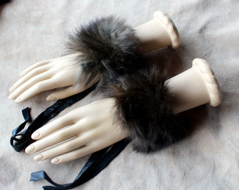Fur bracelets - Pair of vintage silver fox fur bracelets or anklets with recycled leather straps for neotribal costume and festival wear