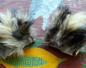 Tanuki ears headdress - real eco-friendly clip-on Finn raccoon dog fur ears costume for totemic ritual and dance