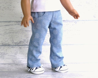 Floral Twill Jeans with Pockets, fits American Girl Doll, 18 inch Doll Clothes