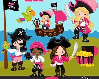 60% OFF SALE Pirates, Ships and Treasure Island Clipart – Girls Instant Download Pirate graphics