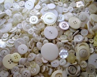 Creamy White Buttons-1000-Mixed Vintage Buttons
