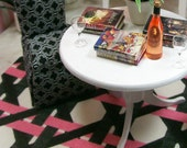 Geometric Pink Black White Carpet Rug Modern 1:12 Dollhouse Miniature