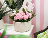 Light Pink Roses Floral Flower Display Statement 1:12 Dollhouse Miniature