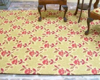 Rose Trellis Carpet Rug Red Gold 1:12 Dollhouse Miniature Artisan