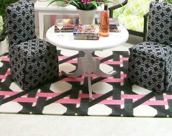 Geometric Pink Black White Carpet Rug Modern 1:12 Dollhouse Miniature