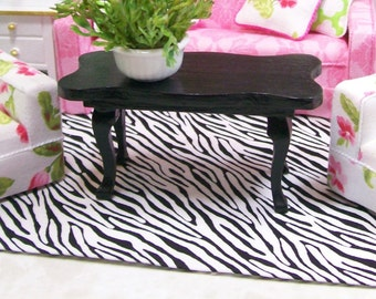 Zebra Carpet Rug Small Black White Modern 1:12 Dollhouse Miniature