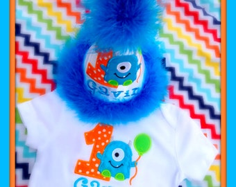 Cake Smash Set, Little Monster First  Birthday Hat and Bodysuit,  Long Sleeves available, by Gingham Bunny