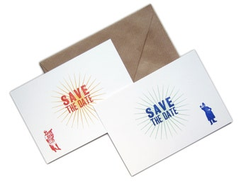 Letterpress Save The Date Notelet Pack