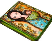 Mother -  Giclee print mounted on Wood (6 x 8 inches) Folk Art  by FLOR LARIOS