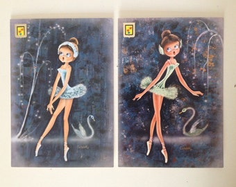 FOUND IN SPAIN -- Set of 4 vintage postcards -- 1970s ballerinas