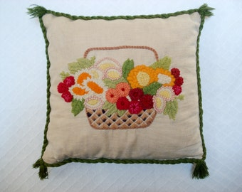 Gorgeous embroidered pillow - basket of blooms