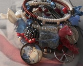 Cracklin' Rosie Patriotic Theme Rosary Wrap BOHO Gemstone Bracelet