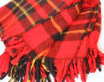 Vintage Faribo Plaid Wool Plaid Made in Faribault Minnesota Blanket Red Tartan Stadium Blanket Picnic Blanket Tailgate College Game Day