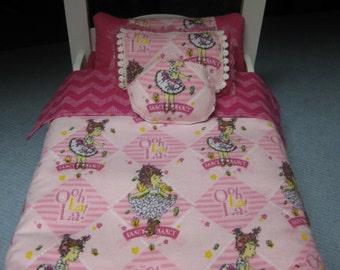 """Cute 5 Piece American Girl Inspired 18"""" Doll Bedding Fancy Nancy Theme 3 Fancy Pillows Bedspread Top Sheet"""