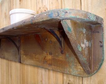 1900s Farmhouse Cast Iron Barn Wood Kitchen Shelf Rustic Luxe