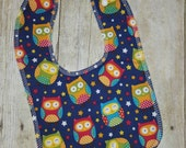 Woot Owls Drooler Bib - Super Absorbant - Wont Soak Through!
