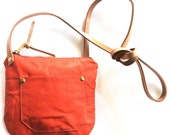 Sample- ATP Round Crossbody - Coral Leather Small Crossbody Bag- -sale Ready to Ship