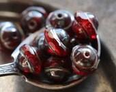 CRANBERRY BLISS .. 10 Premium Picasso Czech Glass Saturn Beads 8x10mm (4879-10)