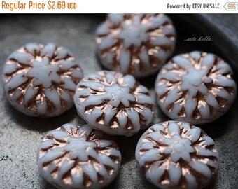 10% off WHITE DAHLIAS .. 6 Picasso Czech Glass Flower Beads 14mm (5160-6)