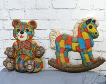 Vintage 70s Patchwork Rainbow Rocking Horse Teddy Bear Wall Art Set Plaques Childrens Room