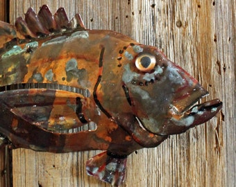 Rockfish - copper metal fish art sculpture - wall hanging - with verdigris blue-green and naturally-aged patinas - OOAK