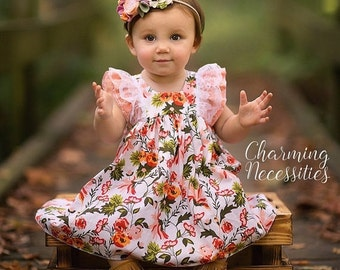 SALE Baby Girl Clothes, Toddler Girl Clothes, Coral Cream Green Double Flutter Sleeve Vintage Dress Fall Back to School, by Charming Necessi