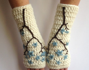 Cherry Blossom Fingerless Gloves Wool Armwarmers Wool Gloves Womens Arm warmers Sakura Cream Blue Flower Texting Gloves - MADE TO ORDER