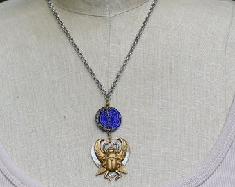 Egyptian Revival Necklace, Winged Scarab Beetle Necklace, Vintage Brass Beetle Pendant, Cobalt Blue Glass Necklace, Artifact Jewelry