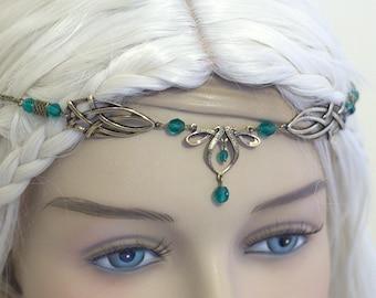 Érin Celtic Circlet Medieval Faery Tiara Bronze Emerald