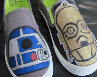 Children's Star Wars R2D2 and C3PO custom painted shoes