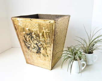 Brass Wastebasket Planter Firewood Box