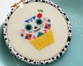 Yellow Day of the Cupcake 4inch 10cm Cross Stitch - Ready to Hang original design