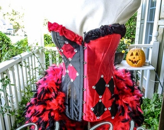 Victoria Velvet Harley Quinn Limited Edition Halloween Feather Corset Costume S M