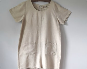 Erika Basic Dress Jumper Tunic No Waist Neutral Color Wedding Guest or Casual Wear Large