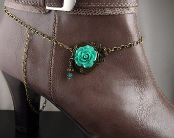 """Boot Jewelry Bracelet Bronze Candy Topper Chain Flower Pendant Cowboy Boot Charm Swarovski Crystals Guardian Angel 14.5"""" long (1013boo07-1)"""
